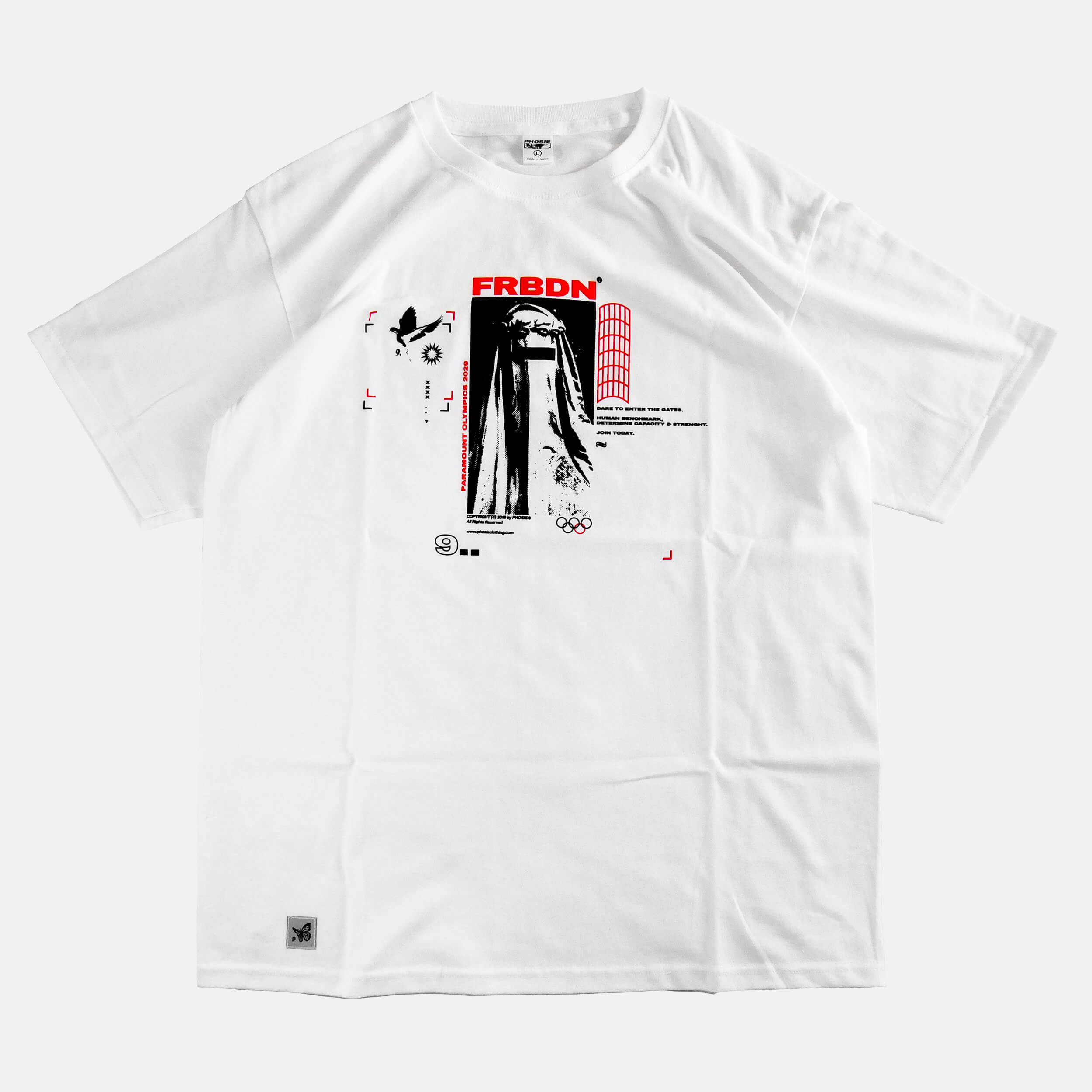 Front view of the screen-pinted FORBIDDEN white t-shirt from PHOSIS Clothing