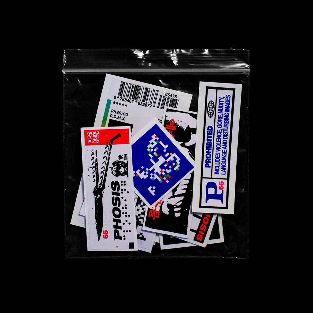 Front view of the full STRIKE 2 vinyl sticker pack bag from PHOSIS Clothing