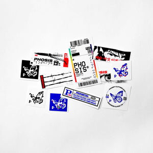 All stickers from the the full STRIKE 2 vinyl sticker pack from PHOSIS Clothing