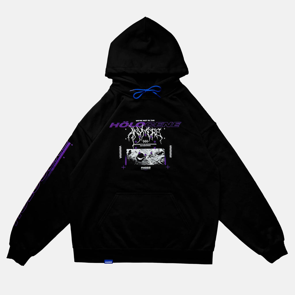 Front view of the screen-pinted HOLOCENE black hoodie from PHOSIS Clothing