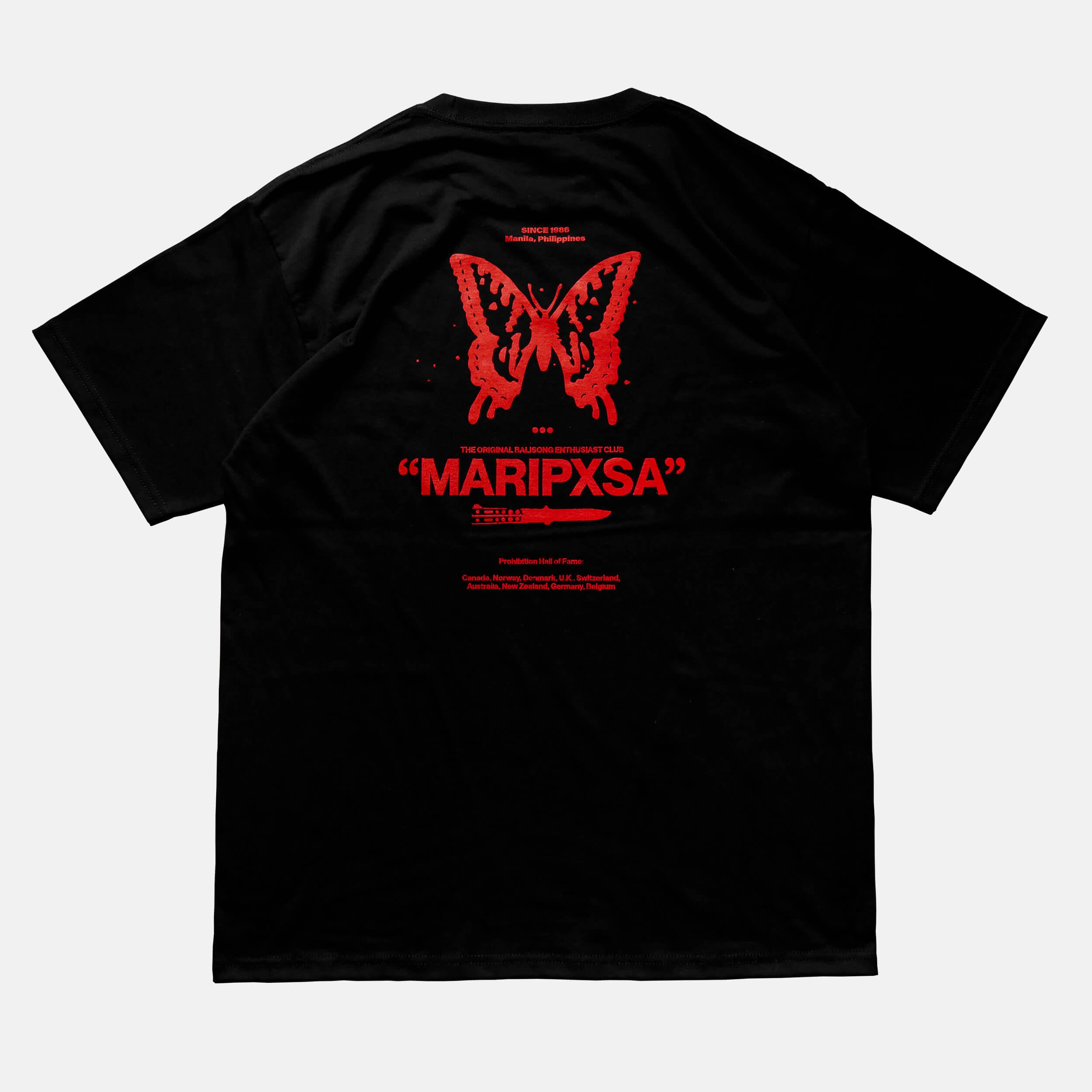 Back view of the screen-pinted 'MARIPXSA' BALISONG CLUB black t-shirt from PHOSIS Clothing