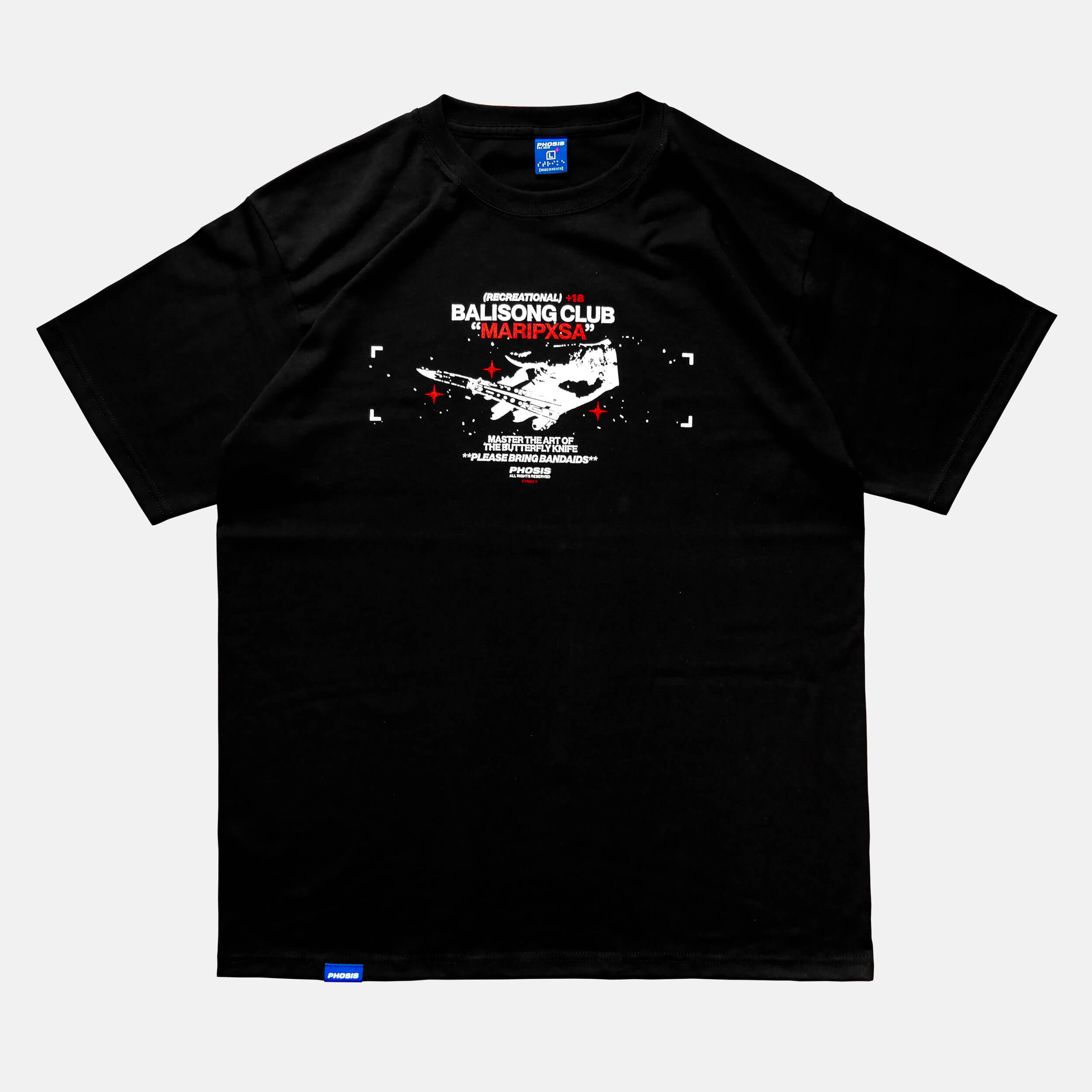 Front view of the screen-pinted 'MARIPXSA' BALISONG CLUB black t-shirt from PHOSIS Clothing