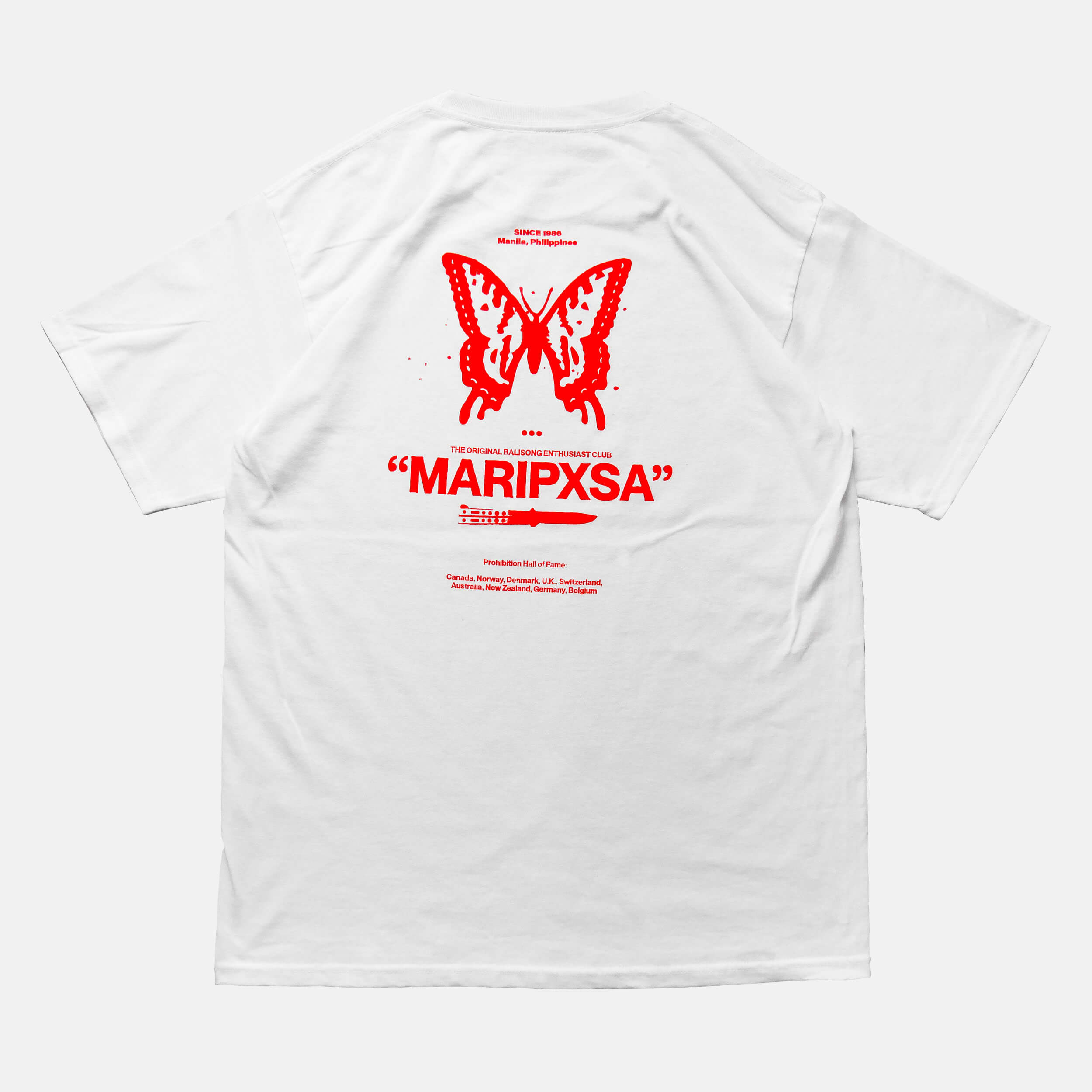 Back view of the screen-pinted 'MARIPXSA' BALISONG CLUB white t-shirt from PHOSIS Clothing