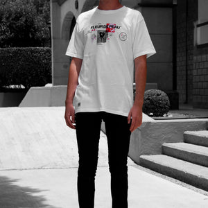 Front view of model wearing FLEUR DE PEAU TEE white t-shirt from PHOSIS Clothing