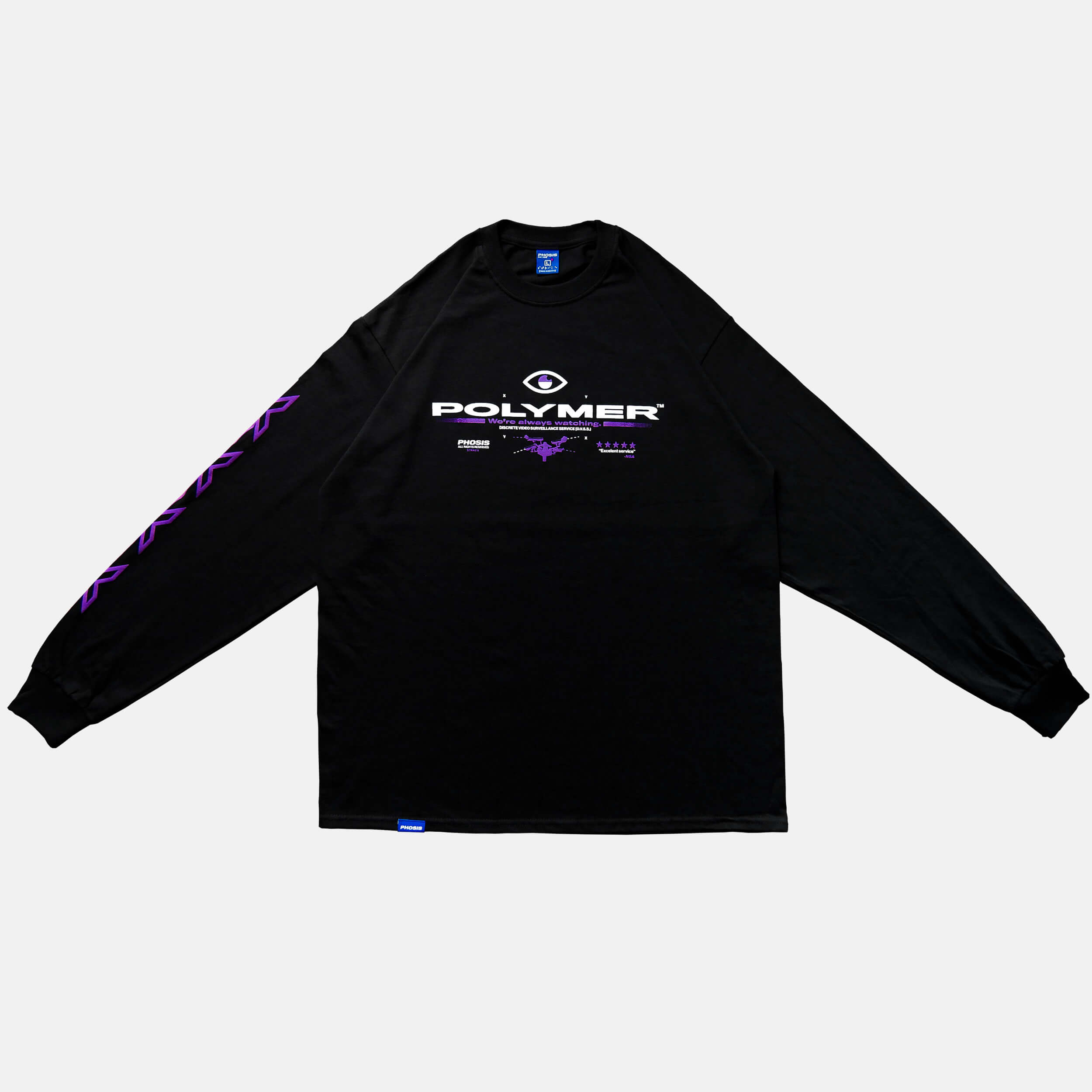 Front view of the screen-pinted POLYMER black long sleeve from PHOSIS Clothing