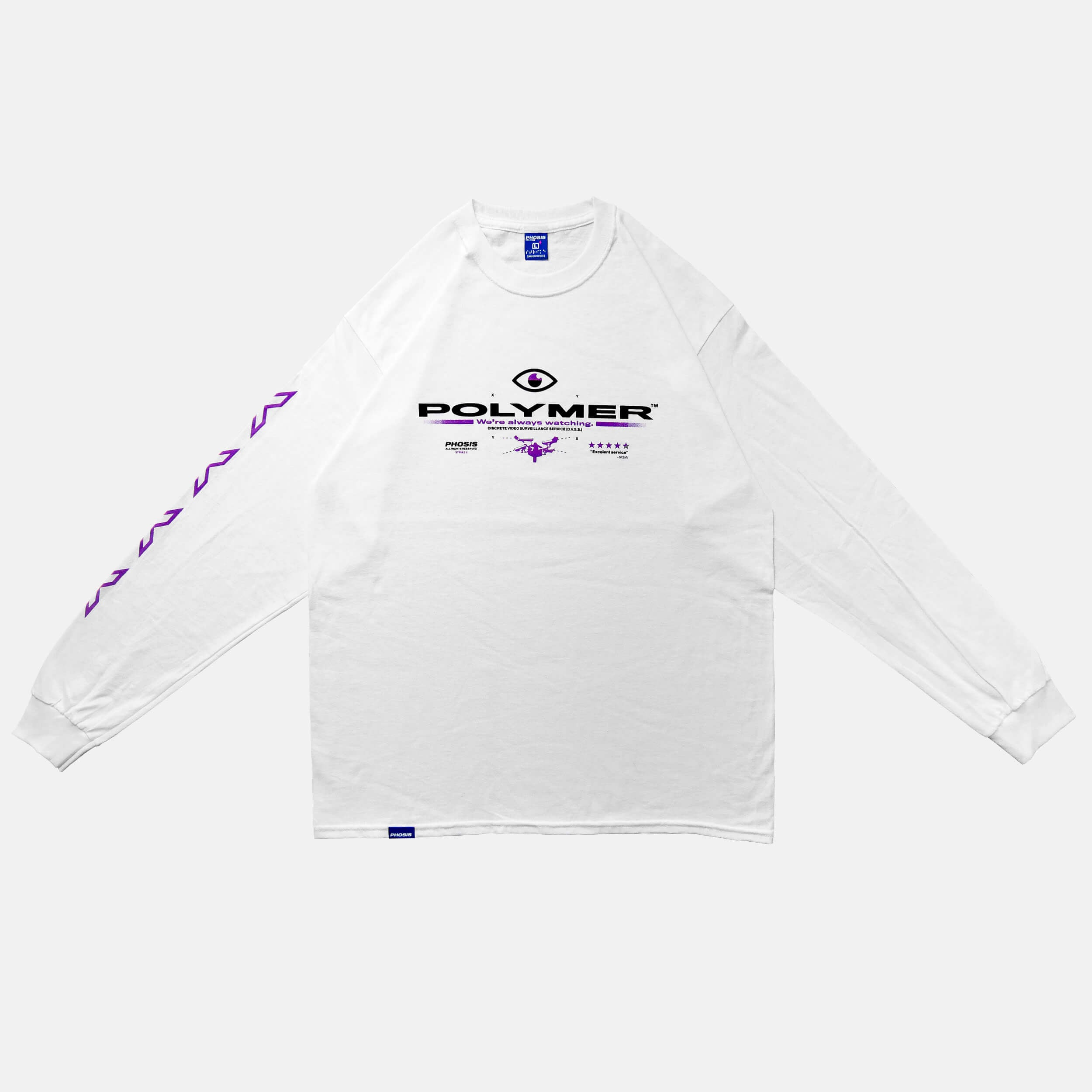 Front view of the screen-pinted POLYMER white long sleeve from PHOSIS Clothing