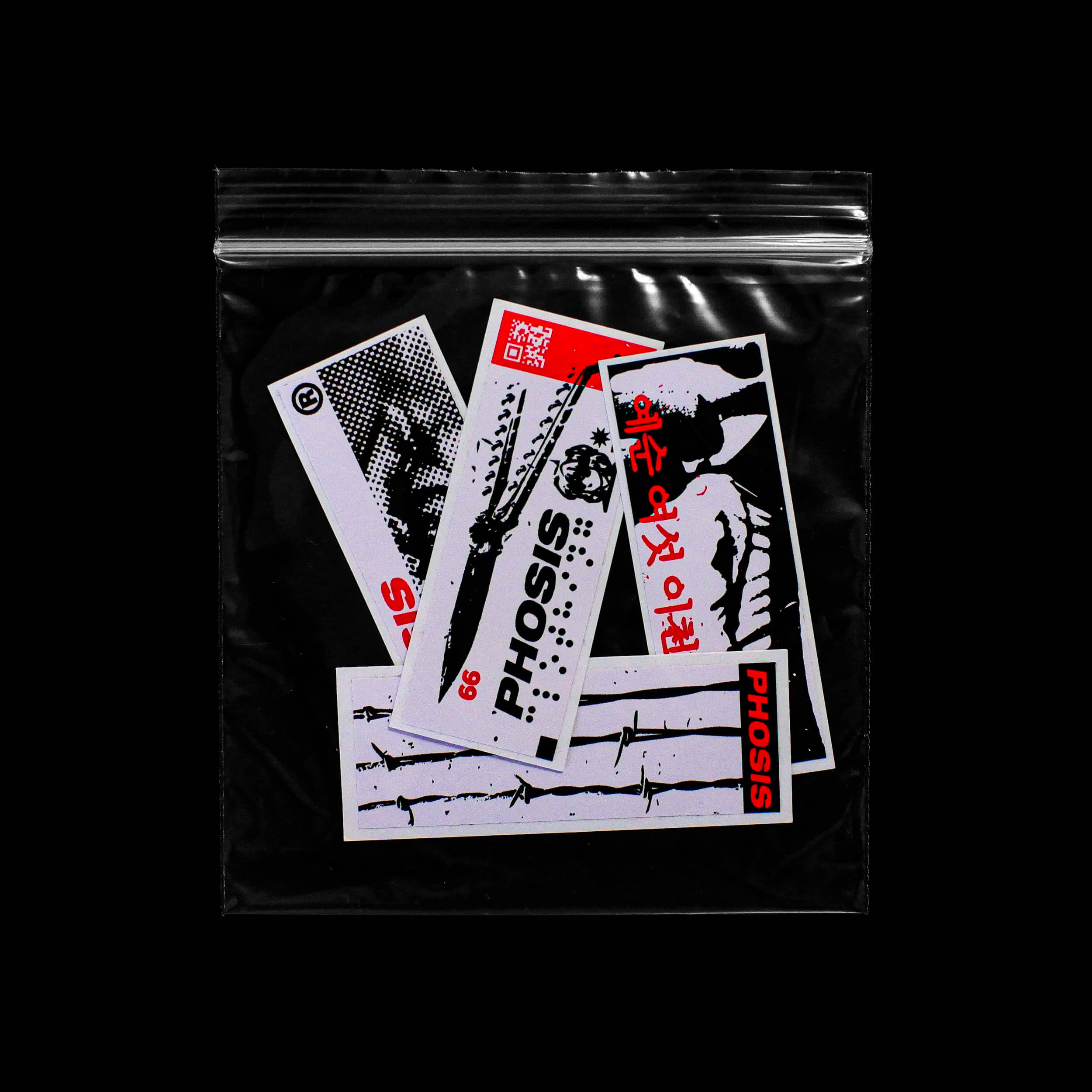 Front view of the Red + Black STRIKE 2 vinyl sticker pack bag from PHOSIS Clothing