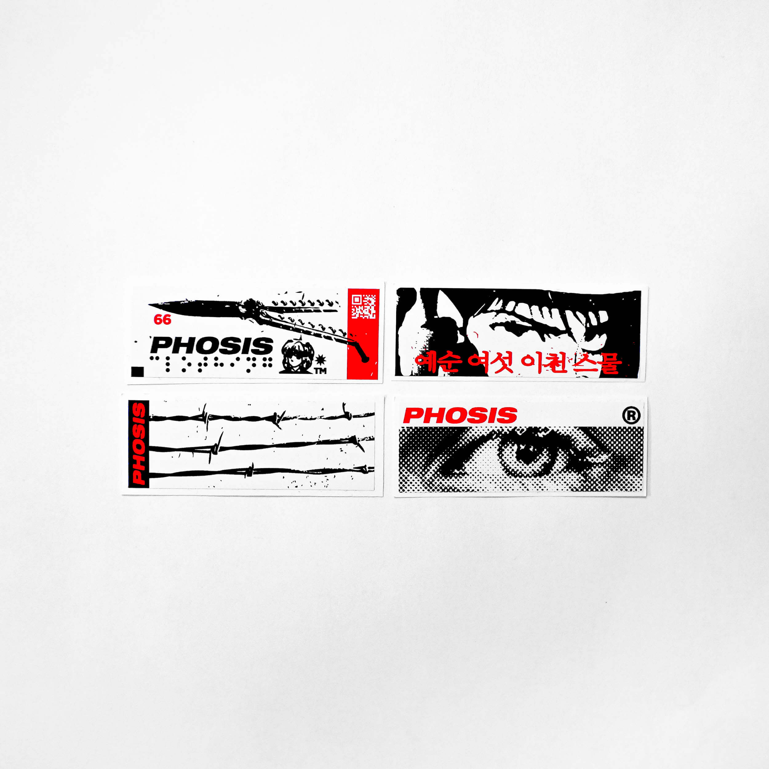 All stickers from the the Red + Black STRIKE 2 vinyl sticker pack from PHOSIS Clothing