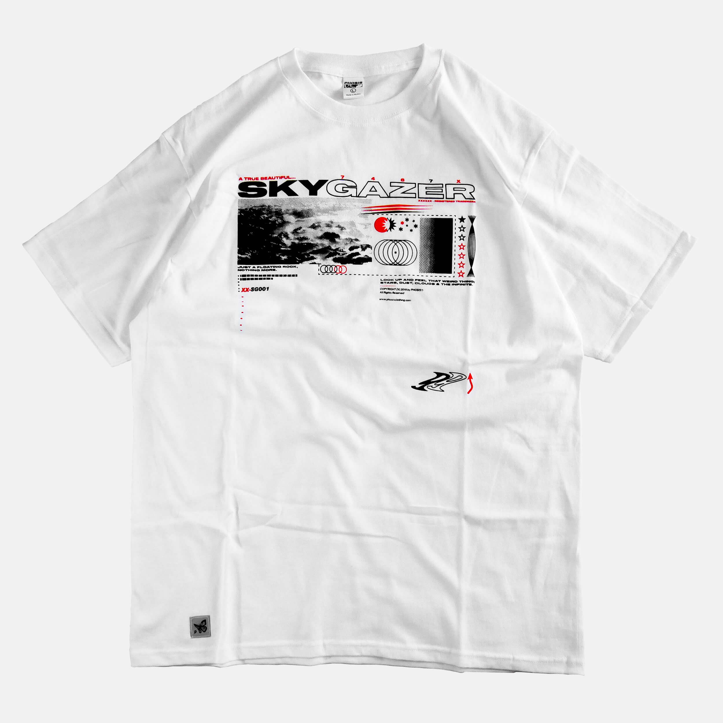 Front view of the screen-pinted SKYGAZER white t-shirt from PHOSIS Clothing