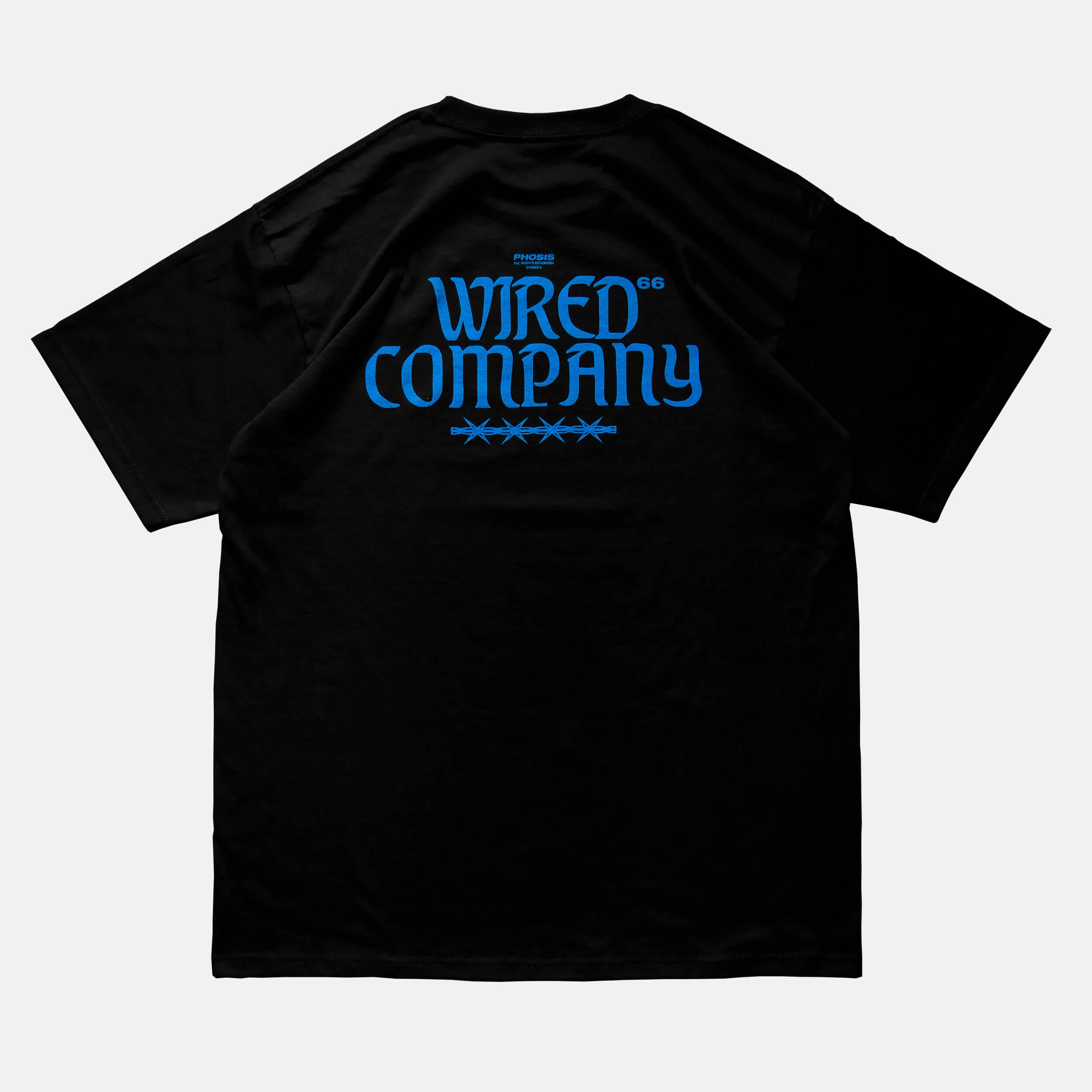 Back view of the screen-pinted 'WIRED' black t-shirt from PHOSIS Clothing