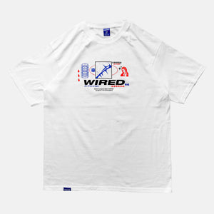 Front view of the screen-pinted 'WIRED' white t-shirt from PHOSIS Clothing