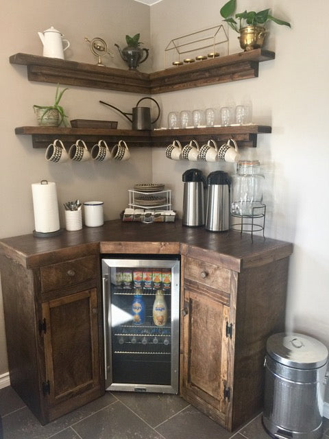 Corner Coffee Station with Floating Shelves