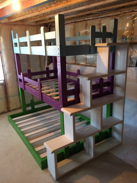 Triple Bunk Bed with Shelf Stairs