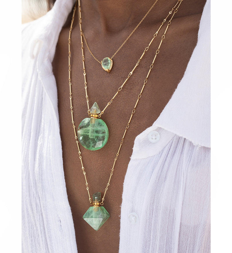 Gold Eden Necklace - Green Fluorite