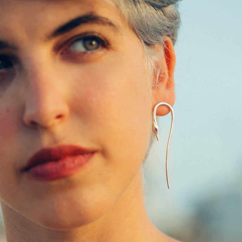Asymmetric Crane Earrings