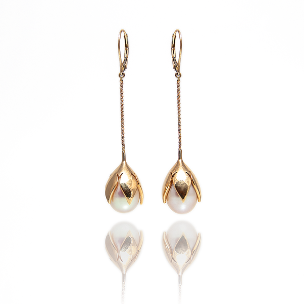 Lotus & Pearl Earrings