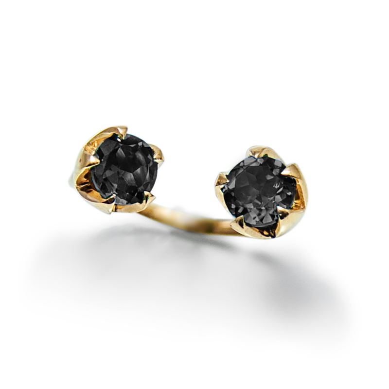 A lotus flower fully bloomed and open through the mud. It represents full enlightenment and self-awareness. No Mud No Lotus.   14k Gold, 1.84 ct black diamonds. weight: 3.86 grams. Every Danielle Gerber piece is handmade. Items are made to order, therefore, please allow us up to 10  business days before shipping