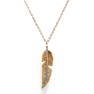 Long Gold & Diamonds feather necklace