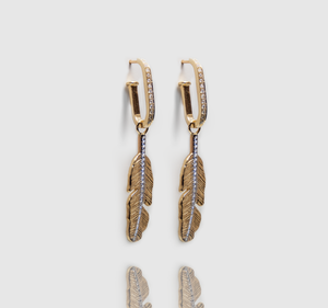 Modular gold feathers earring
