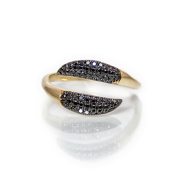 People seek individuality, Some people copy it. Some buy it, and some naturally, own it.  14k Yellow Gold, 0.37 ct black diamonds. weight: 3.8 grams. Every Danielle Gerber piece is handmade. Items are made to order, therefore, please allow us up to 10  business days before shipping