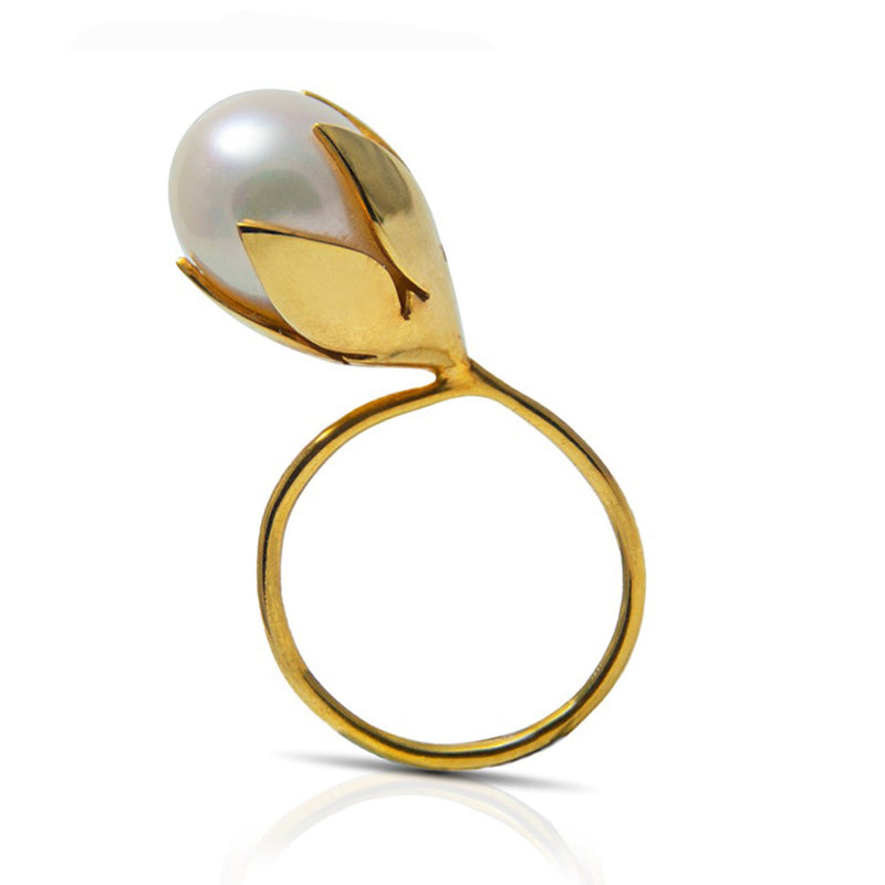 Gold plated lotus ring