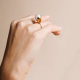 Gold plated lotus flower ring