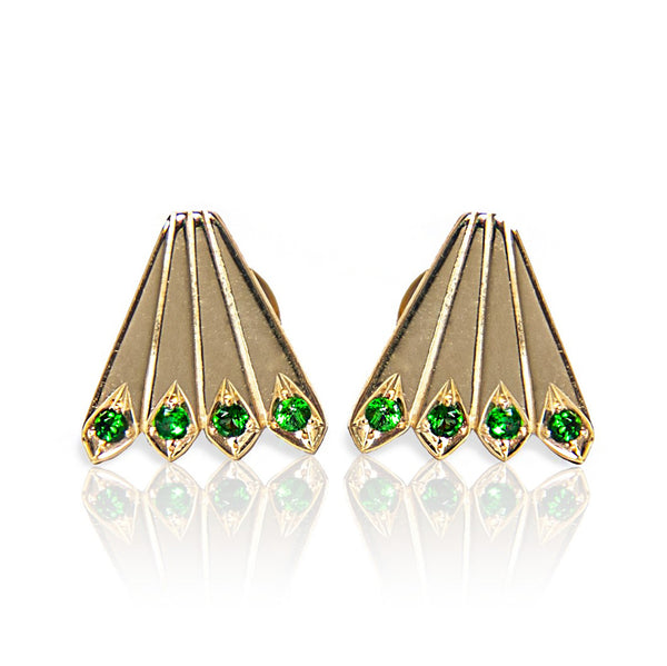 Peacock Tails Studs - Green