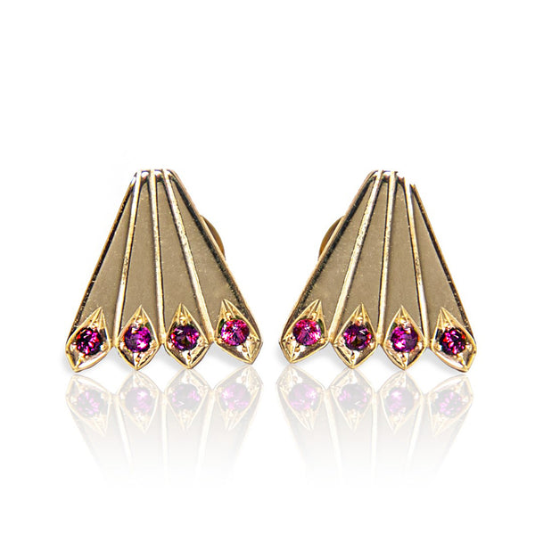 "14K Gold studs, studded with sensual Ruby. Weight: 1.5 grams.   ""The pride of the peacock is the glory of God"" ~ Wiliam Blake.  Every Danielle Gerber piece is handmade. Items are made to order, therefore, please allow us up to 10  business days before shipping"