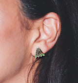 Peacock Tails Studs - Ruby