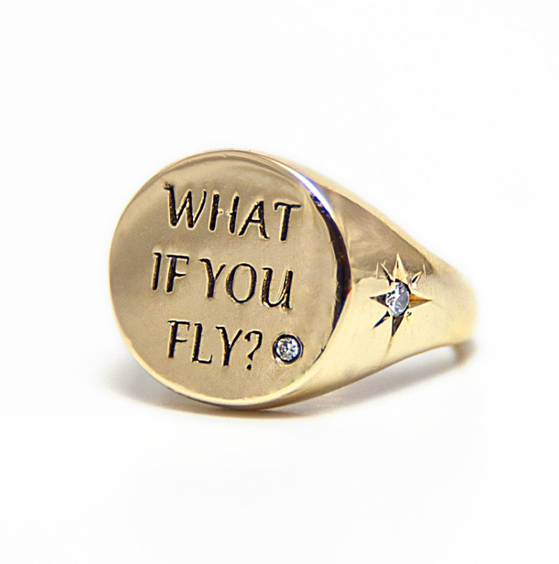 """what if you fly?"" Pinky Ring  ""There is freedom waiting for you on the edge of the sky, and you are wondering, ""what if I fall?"" but oh, my darling, what if you fly?"" / e.h  14K gold studded with 3 magical diamonds"