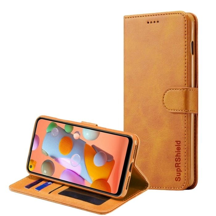 Wallet case for Galaxy A21S-Tan