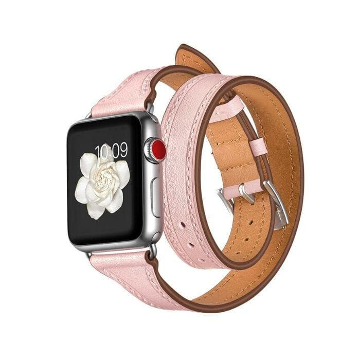 Apple Watch Series 1, 2 & 3 Band - 42mm Double Loop Genuine Leather Strap pink