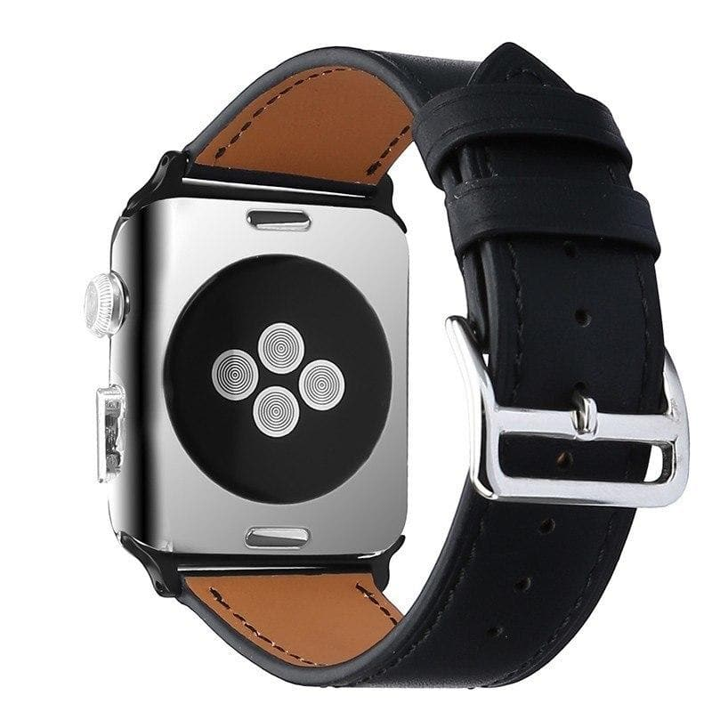 Apple Watch Series 4 Band - 40mm Genuine Leather Strap black back