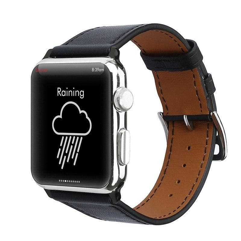 Apple Watch Series 4 Band - 40mm Genuine Leather Strap front black