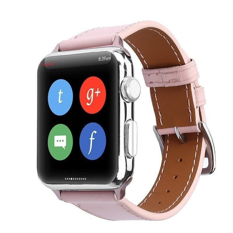 Apple Watch Series 4 Band - 40mm Genuine Leather Strap pink front
