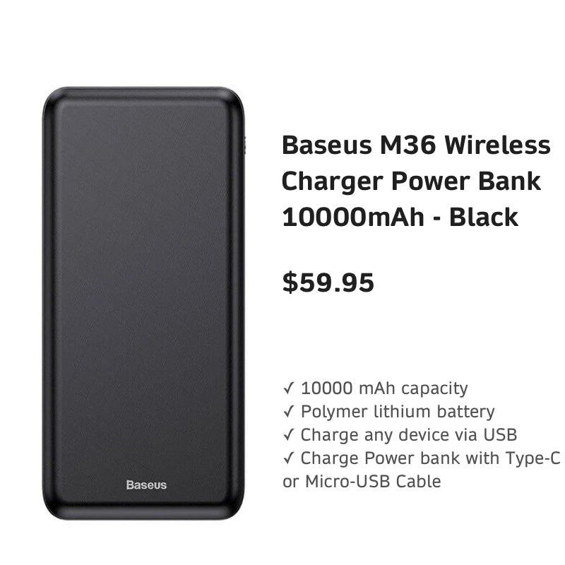 BaseusM36WirelessChargerPowerBank10000mAh-Black