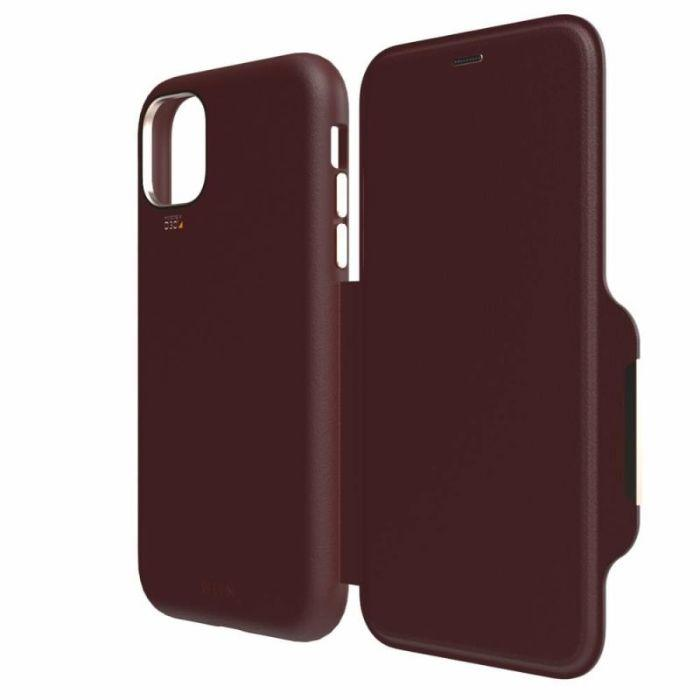 EFM Monaco D3O Leather Wallet Case Armour For iPhone 11 Pro - Mulberry Apple