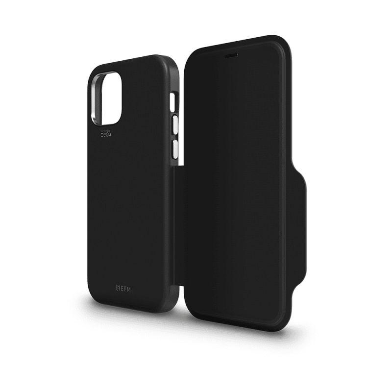 EFM Monaco Leather Wallet Case Armour with D3O 5G Signal Plus for iPhone 12 Pro Max - BlackSpace Grey