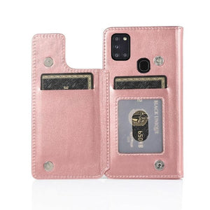 Luxury Galaxy A11 Wallet Case-Rose Gold Android