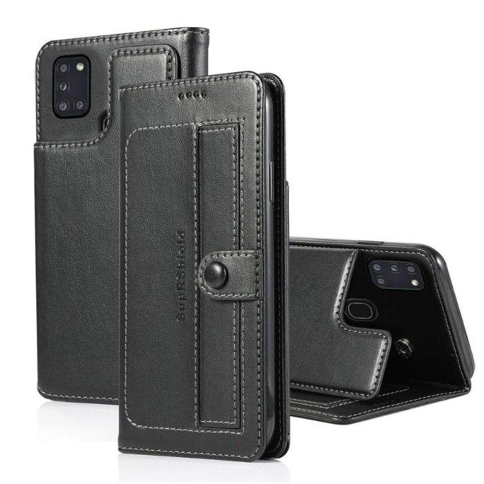 Luxury Galaxy A21S Wallet Case-Black Android