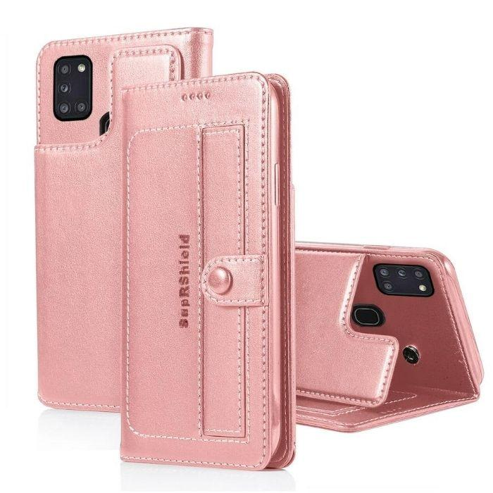 Luxury Galaxy A21S Wallet Case-Rose Gold