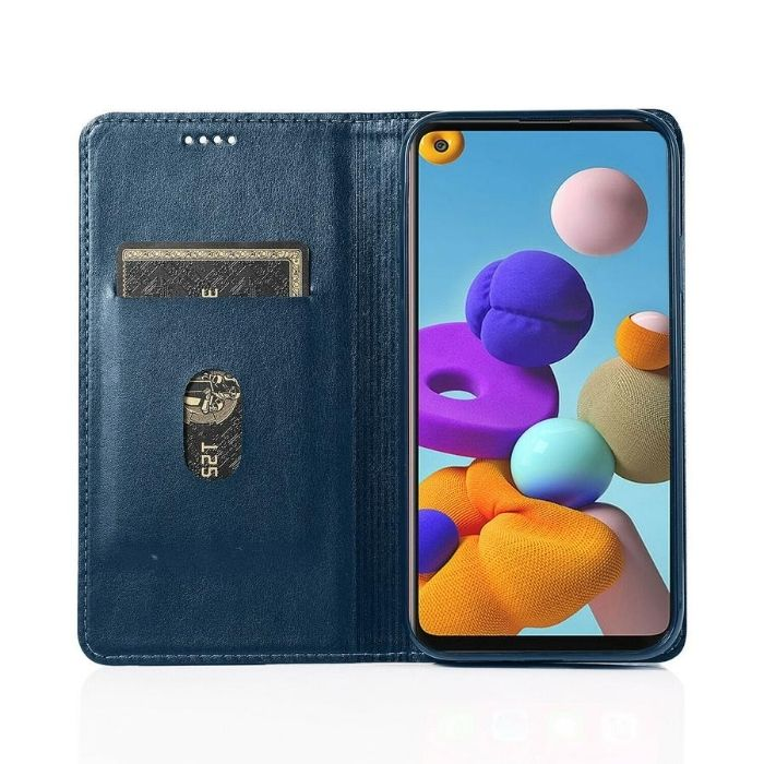 Luxury Galaxy A11 Wallet Case-Navy Android