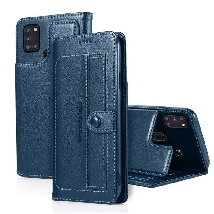 Luxury Galaxy A11 Wallet Case-Navy