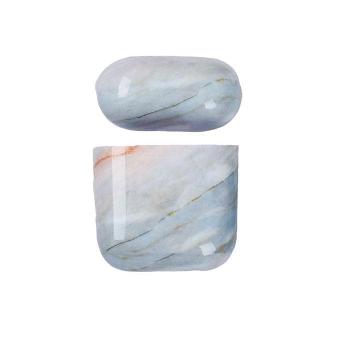 Marble Case for AirPods 1 & 2 - Light Blue