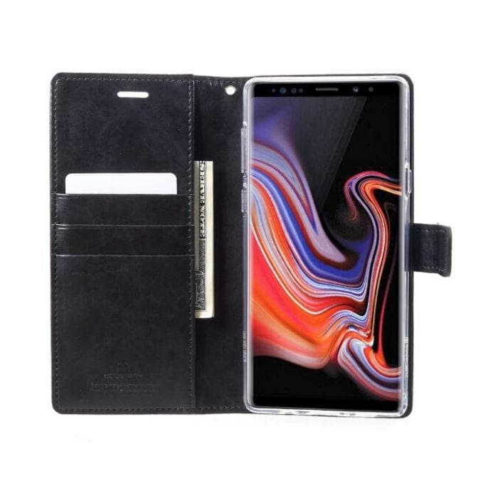 Mercury Blue Moon Diary Case for Galaxy Note 9 - Black open