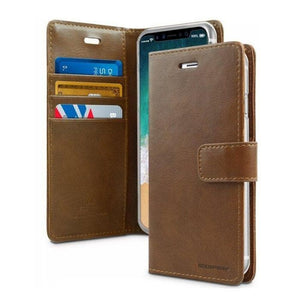 Mercury Blue Moon Diary Case for iPhone XR - Brown