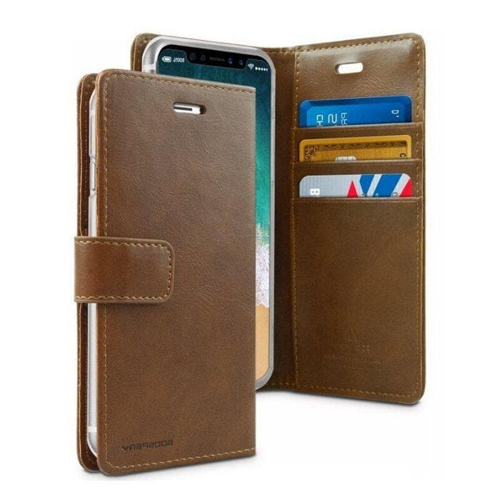 Mercury Blue Moon Diary Case for iPhone XR - Brown open