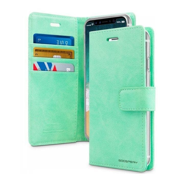 Mercury Blue Moon Diary Case for iPhone XR - Mint
