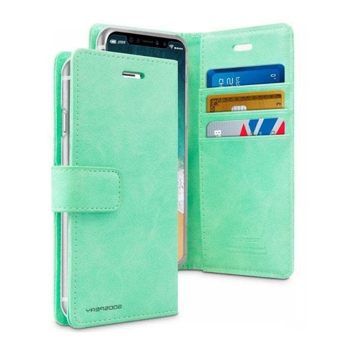 Mercury Blue Moon Diary Case for iPhone XR - Mint open
