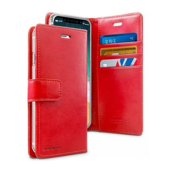 Mercury Blue Moon Diary Case for iPhone XR - Red open